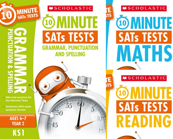 Scholastic Year 2 10 minutes tests [3 BOOKS] KS1 SATs English, GPS and Maths
