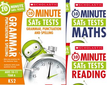 YEAR 6 10 MINUTE TESTS [3 BOOKS] KS2 SATS ENGLISH, GPS & MATHS