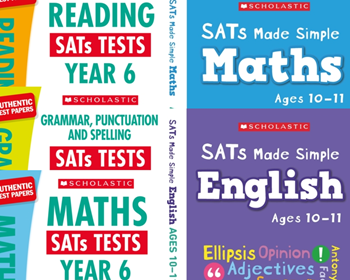 Scholastic Year 6 New Exam Revision Pack [5 BOOKS] KS2 SATs revision guides and practice tests for Maths and English